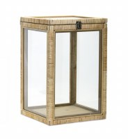 "18"" Natural Rattan and Glass Box"