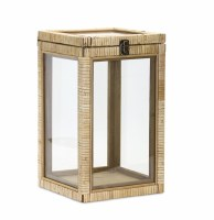 "15"" Natural Rattan and Glass Box"