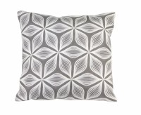 """17"""" Square Dark Gray and White Flower Pillow"""