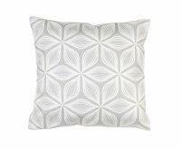 """17"""" Square Light Gray and White Flower Pillow"""