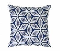 "17"" Square White Flower On Blue Pillow"