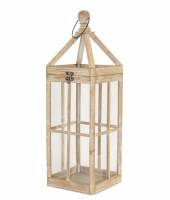 "27"" White Washed Square Natural Wooden and Glass Lantern"