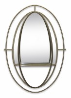 "38"" Oval Metal Mirror With Shelf"