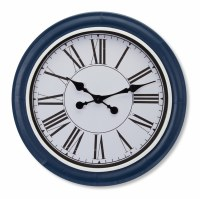 "21"" Round Navy Rimmed Wall Clock"