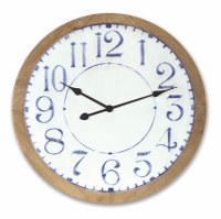 "25"" Round Navy and White Face Clock With Wooden Rim"