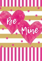 "12"" x 18"" Pink and Gold Be Mine Hearts Garden Flag"