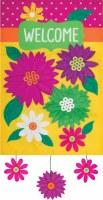 "12"" x 18"" Mini Welcome Multicolored Flower Dangle Garden Flag"