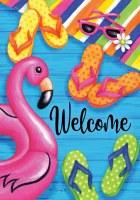 "12"" x 18"" Mini Flip Flop and Flamingo Welcome Garden Flag"