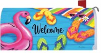 """6.5"""" x 17"""" Flip Flops and Flamingo Welcome Mailbox Cover"""