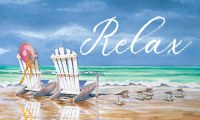 "18"" x 30"" Relax With White Adirondack Chair Beach Scene Doormat"
