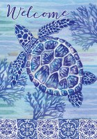 "40"" x 28"" Blue Sea Turtle Welcome Garden Flag"