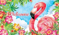 "18"" x 30"" Flamingo Hibiscus Welcome Door Mat"