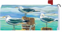 "6.5"" x 17"" Seagulls On Pilings Mailbox Cover"