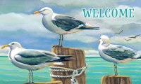 "18"" x 30"" Seagulls On Pilings Welcome Doormat"