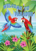 "12"" x 18"" Mini Welcome To Paradise Parrots Garden Flag"