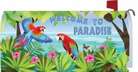 "6.5"" x 17"" Welcome To Paradise Parrots Mailbox Cover"