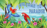 "18"" x 30"" Welcome To Paradise Parrots Doormat"