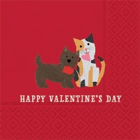 "5"" Square Valentine's Day Cat and Dog Beverage Napkin"