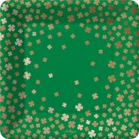 "Pack of 8 / 7"" Square Shamrock St. Patricks Day Plate"
