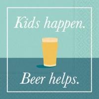 "5"" Square Kids Happen Beer Helps Beverage Napkin"