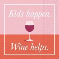"5"" Square Kids Happen Wine Helps Beverage Napkin"