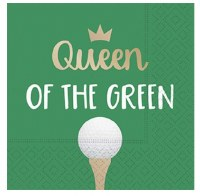 """Pack Of 16 5"""" Square Queen Of The Green Beverage Napkin"""