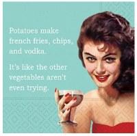"""5"""" Square Potatoes Make Vodka Beverage Napkin"""