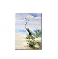 "27"" x 20 Blue Heron On Beach Canvas"
