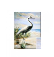 "27"" x 20"" White Egret On Beach Canvas"