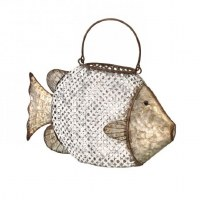 "15"" Antique White Finish and Galvanized Metal Fish Lantern"