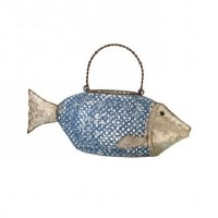 "18"" Blue and Galvanized Metal Fish Lantern"