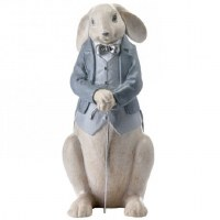 "13"" Multipastel Polystone Rabbit With Cane"