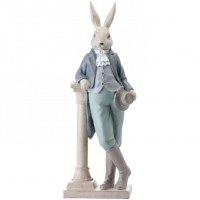 "18"" Multipastel Polystone Rabbit With Column"