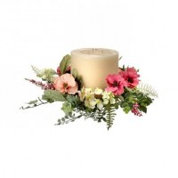 "6"" Pink and Cream Flower Candle Ring"