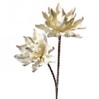 "41"" White Double Faux Succulent Flower"