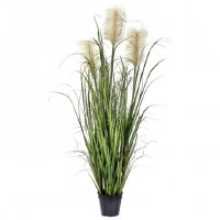 "55"" Beige and Green Dunes Faux Grass Potted"