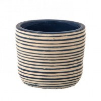 "4"" Round Blue and White Stripped Garden Pot"