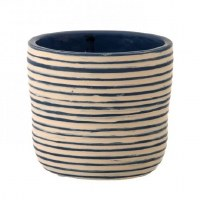 "5"" Round Blue and White Stripped Garden Pot"