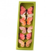 "Box of 6 3"" Coral Faux Butterflies"