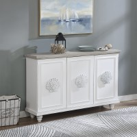 "54"" Antique White With Gray Top 3 Scallop Handled Door Credenza"