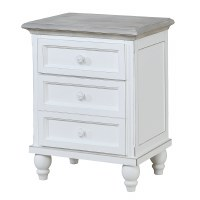 "23"" Antique White With Gray Top 3 Drawer Cabinet"
