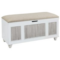 "50"" Antique White With Gray Panels and Beige Lid Bench"