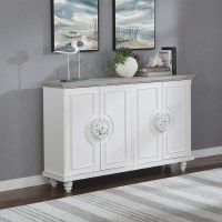 "60"" Antique White Base With Gray Top 4 Compass Handled Door Credenza"