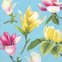"""5"""" Square Yellow and Pink Tropical Flowers Beverage Napkin"""