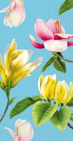 """8.5"""" x 4.5"""" Yellow and Pink Tropical Flowers Guest Towel"""