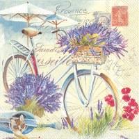 "5"" Square Bike With Lavender Beverage Napkin"