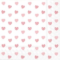 "5"" Square Tiny Pink Hearts Beverage Napkin"