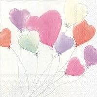 "5"" Square Multipastel Heart Balloons Beverage Napkin"