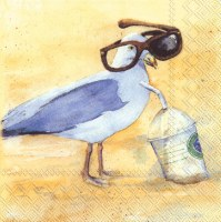 "5"" Square Seagull In Beach Chair Beverage Napkin"