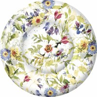 "Pack of 8 / 8"" Round Multicolored Flower Paper Plate"
